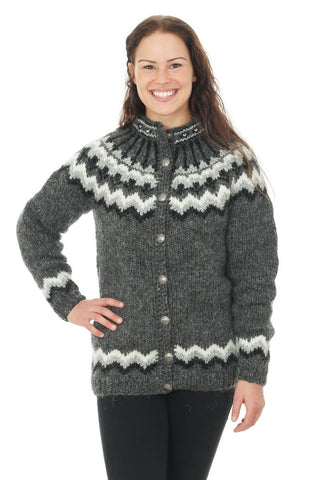 Sýn - Icelandic Wool Cardigan - Dark Grey Heather, Icelandic Cardigan for women - icelandicstore.is