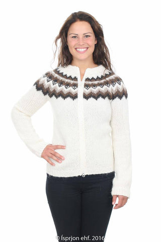 Lofn - Icelandic Wool Cardigan - White, Icelandic Cardigan for women - icelandicstore.is