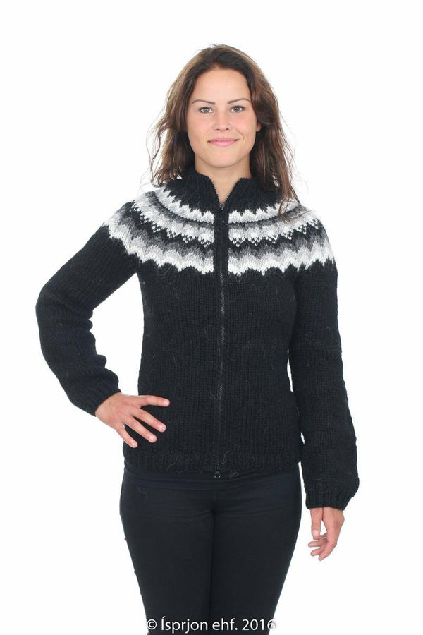 Rán - Icelandic Wool Cardigan - Black, Icelandic Cardigan for women - icelandicstore.is