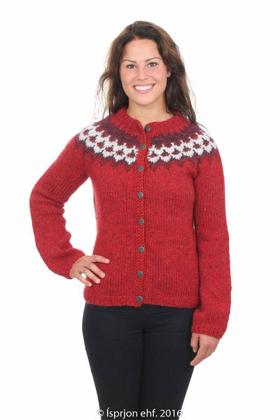 Gefjun - Icelandic Wool Cardigan - Red, Icelandic Cardigan for women - icelandicstore.is