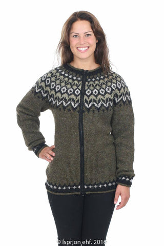 Valkyrja - Icelandic Wool Cardigan - Green, Icelandic Cardigan for women - icelandicstore.is