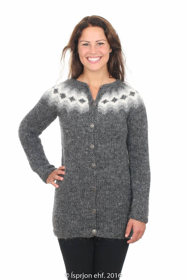 Sif - Icelandic Wool Cardigan - Dark Grey, Icelandic Cardigan for women - icelandicstore.is