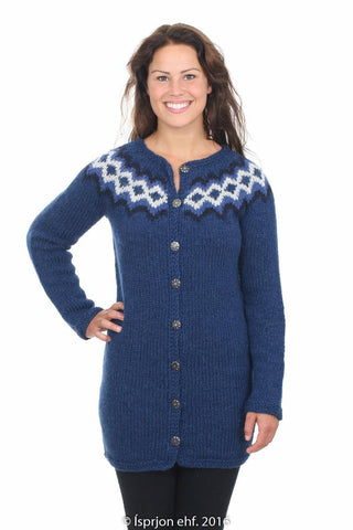 Sif - Icelandic Wool Cardigan - Blue, Icelandic Cardigan for women - icelandicstore.is