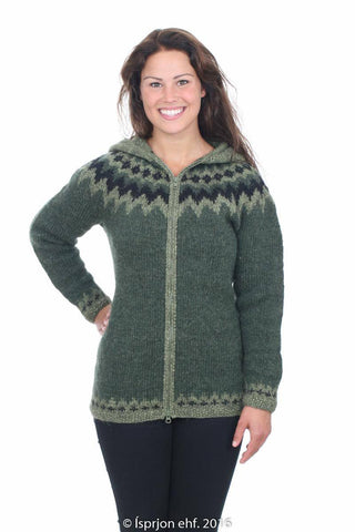 Sjöfn - Icelandic Wool Cardigan - Pine Green, Icelandic Cardigan for women - icelandicstore.is