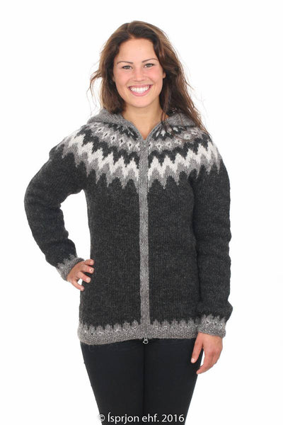 Sjöfn - Icelandic Wool Cardigan - Black Heather, Icelandic Cardigan for women - icelandicstore.is