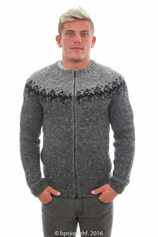 Viðar - Icelandic Sweater Cardigan - Dark Grey, Icelandic Cardigan for men - icelandicstore.is
