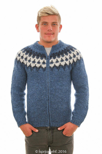 Vættir - Icelandic Cardigan Sweater - Arctic Blue, Icelandic Cardigan for men - icelandicstore.is