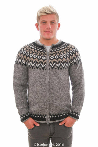 Víkingur - Icelandic Wool Cardigan - Grey, Icelandic Cardigan for men - icelandicstore.is