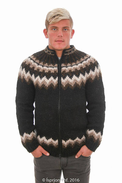 Týr - Icelandic Cardigan Sweater - Black, Icelandic Cardigan for men - icelandicstore.is