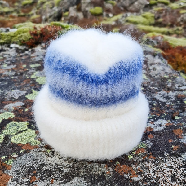 Brushed Wool Hat - White / Blue, Icelandic Wool Hat - icelandicstore.is