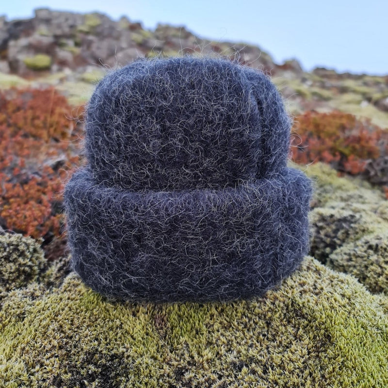 Brushed Wool Hat - Black Heather, Icelandic Wool Hat - icelandicstore.is