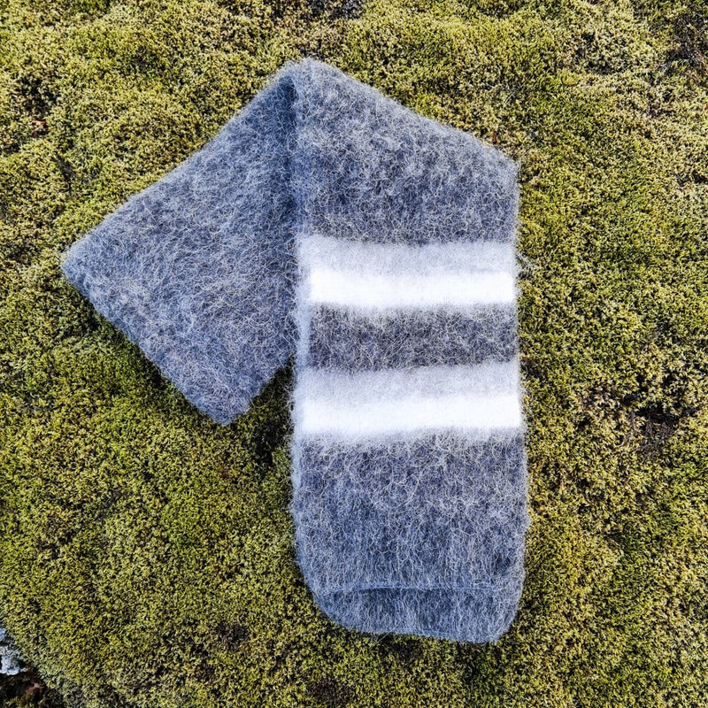Brushed Wool Scarf - Grey / White, Wool Scarf - icelandicstore.is