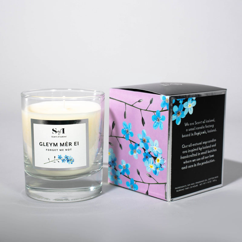 Gleym mér ei / Forget me not fragrance: Violet, jasmine & lemon, Icelandic Candle - icelandicstore.is