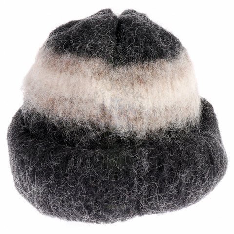Brushed Wool Hat - Black / Brown, Icelandic Wool Hat - icelandicstore.is