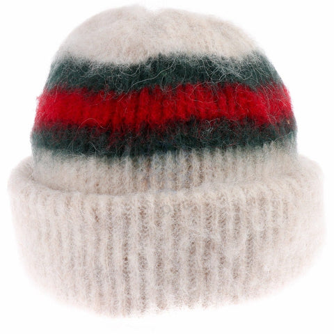 Brushed Wool Hat -Beige / Red, Icelandic Wool Hat - icelandicstore.is