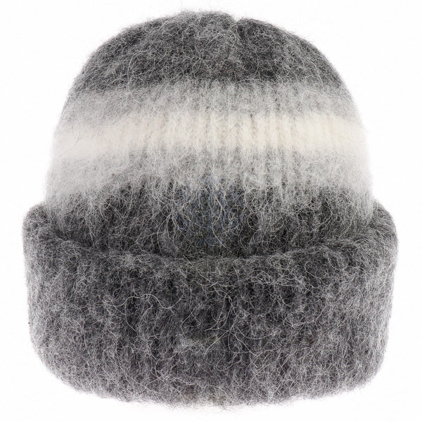Brushed Wool Hat - Grey / White, Icelandic Wool Hat - icelandicstore.is
