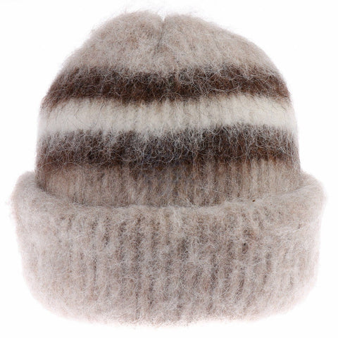 Brushed Wool Hat - Brown / White, Icelandic Wool Hat - icelandicstore.is
