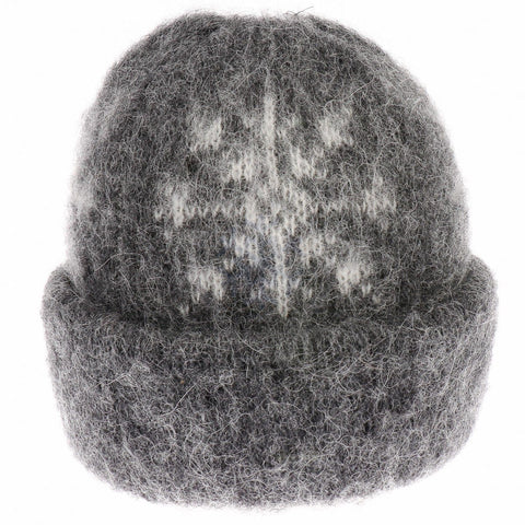 Brushed Wool Hat - Grey / White Star, Icelandic Wool Hat - icelandicstore.is