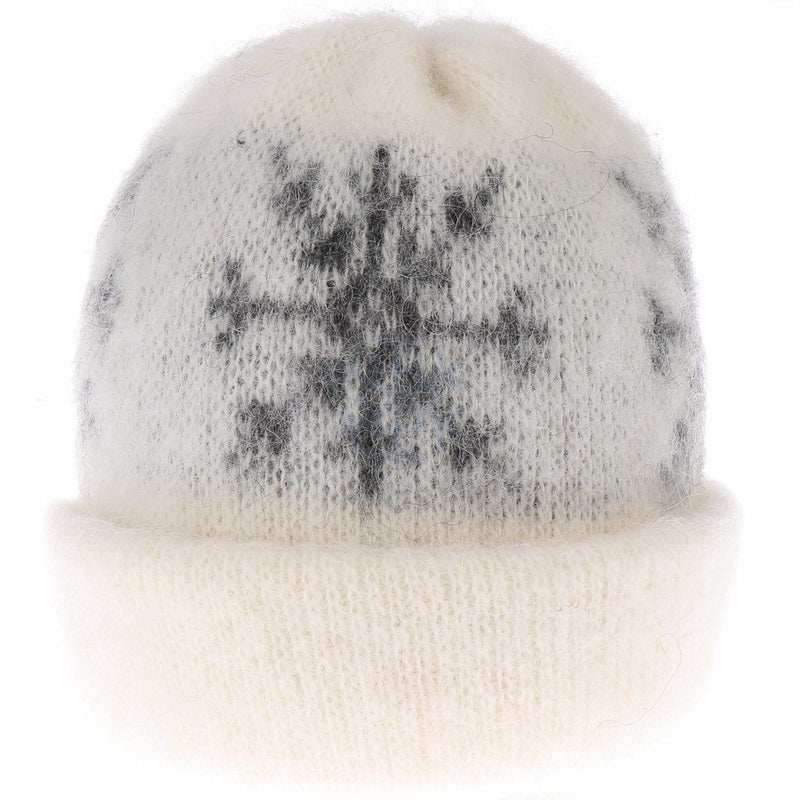 Brushed Wool Hat - White / Grey Star, Icelandic Wool Hat - icelandicstore.is