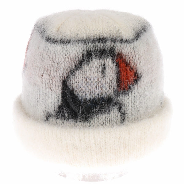 Brushed Wool Hat - White / Puffin, Icelandic Wool Hat - icelandicstore.is