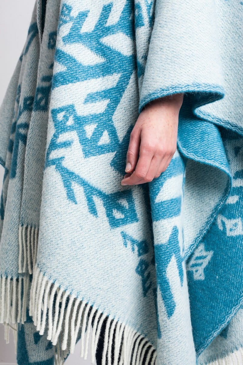 Alrún wool cape - Turquoise Love, Wool Cape - icelandicstore.is