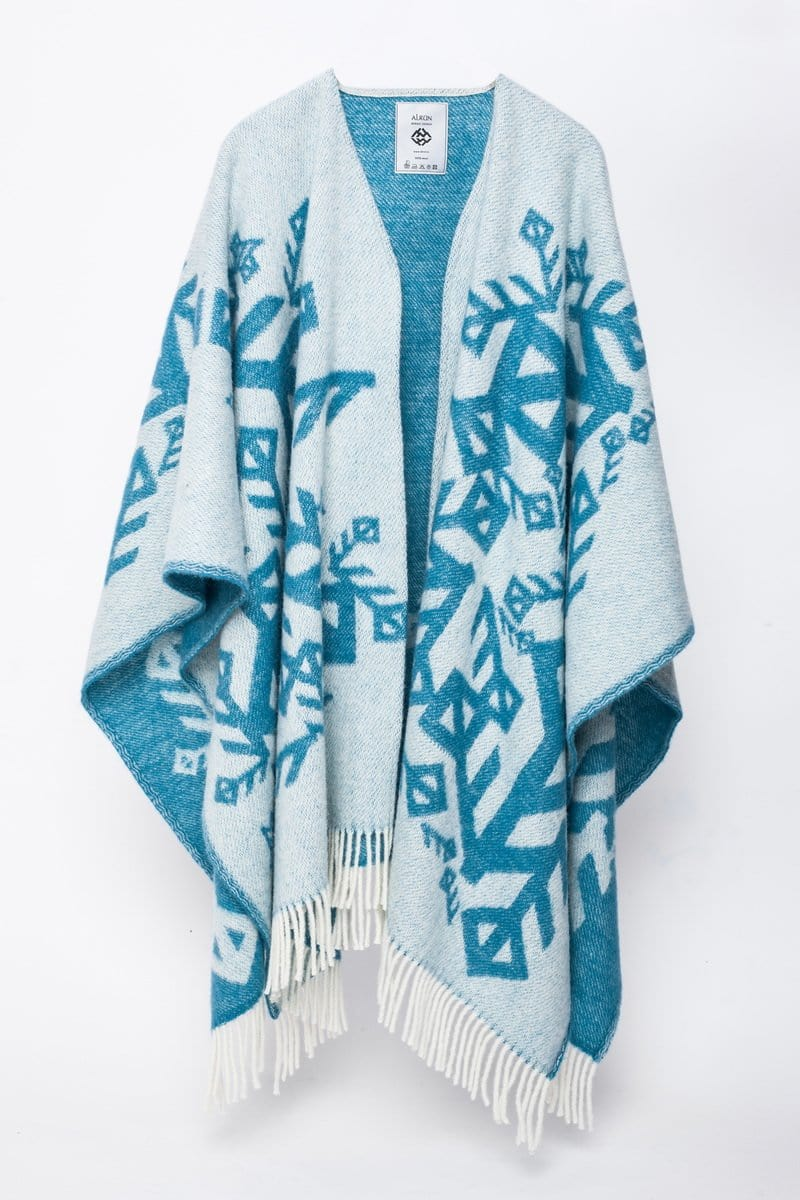 Alrún wool cape - Turquoise Love - icelandicstore.is
