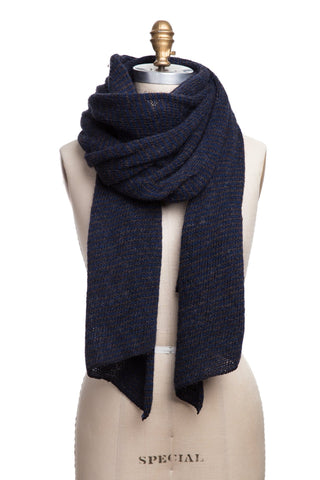Striped Wool Scarf - Dark Blue