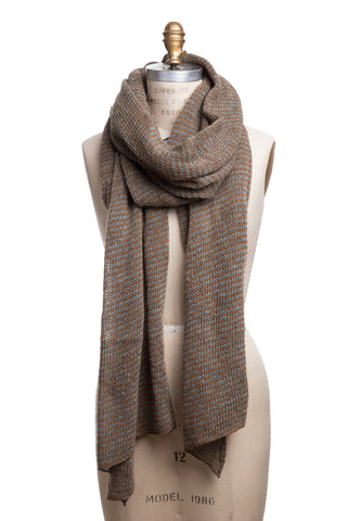 Striped Wool Scarf - Golden