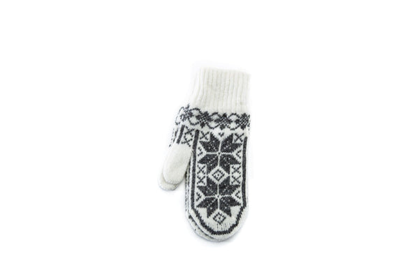 Ladies mittens – Scandinavian pattern - White, Wool Mittens - icelandicstore.is