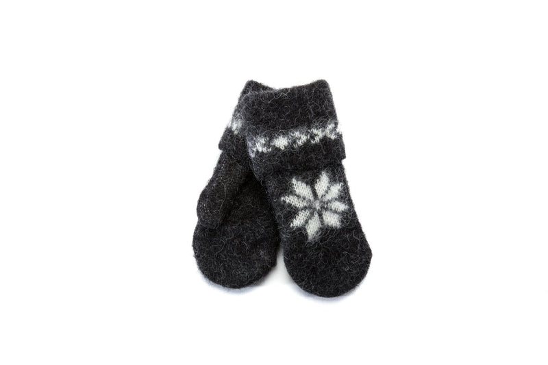 Wool mittens – Brushed wool - Black, Wool Mittens - icelandicstore.is