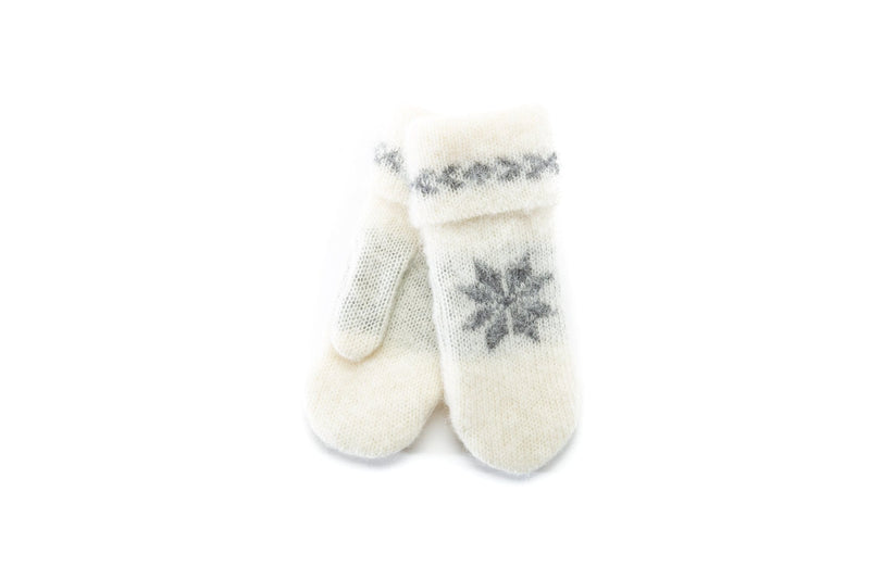 Wool mittens – Brushed wool - White, Wool Mittens - icelandicstore.is
