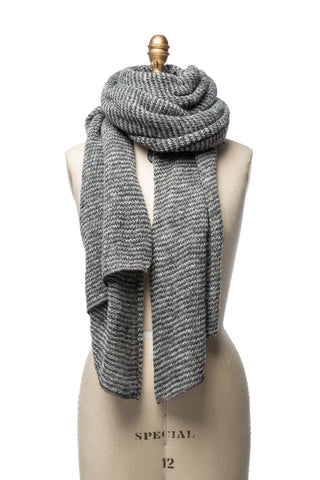 Striped Wool Scarf - Grey