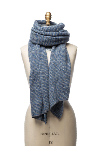 Striped Wool Scarf - Blue