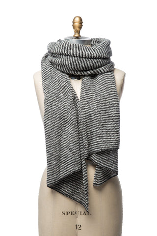 Striped Wool Scarf - Black / White