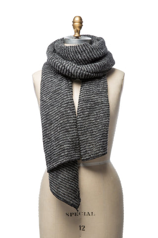 Striped Wool Scarf - Black