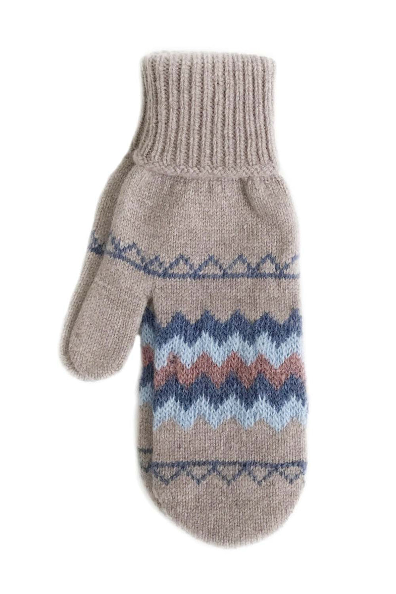 Fanney Beige Icelandic Wool Mittens - Traditional Icelandic Pattern - icelandicstore.is