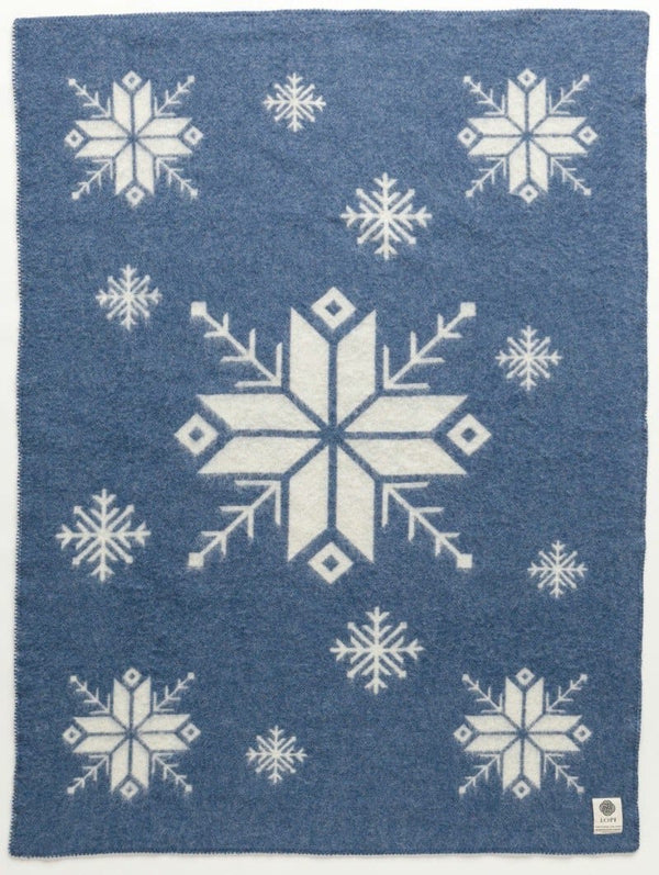 Jaquard Lopi Blanket - Blue, Icelandic Blanket - icelandicstore.is