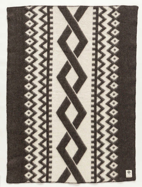 Jaquard Lopi Blanket - Black, Icelandic Blanket - icelandicstore.is