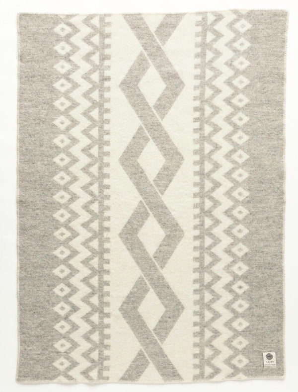 Jaquard Lopi Blanket - Grey, Icelandic Blanket - icelandicstore.is