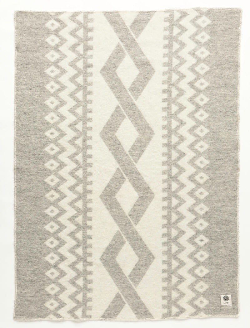 Jaquard Lopi Blanket - Grey - icelandicstore.is