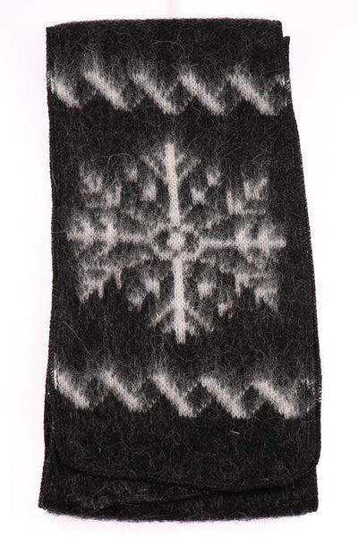 Brushed Wool - Black / Snowflakes, Wool Scarf - icelandicstore.is