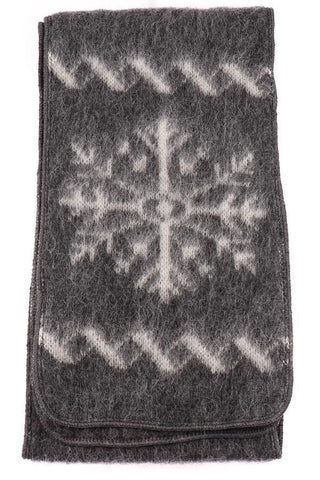 Brushed Wool - Grey / Snowflakes, Wool Scarf - icelandicstore.is