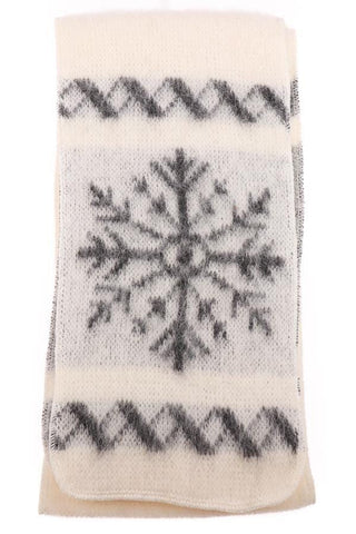 Brushed Wool - White / Snowflakes, Wool Scarf - icelandicstore.is