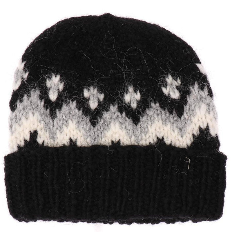 Handknit Wool Hat - Black / White, Icelandic Wool Hat - icelandicstore.is