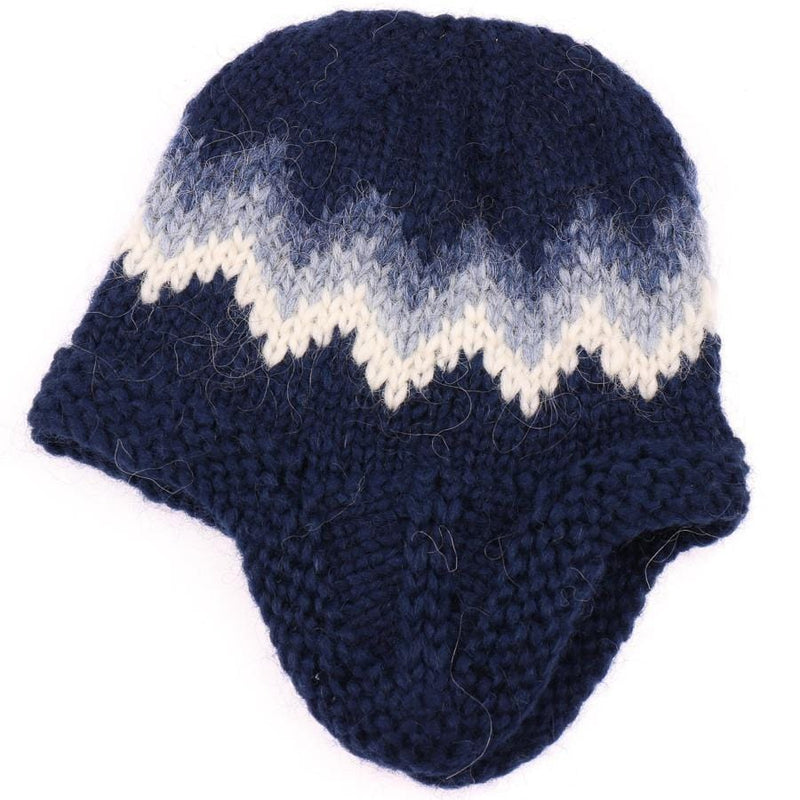 Handknit Wool Hat - Blue / White, Icelandic Wool Hat - icelandicstore.is