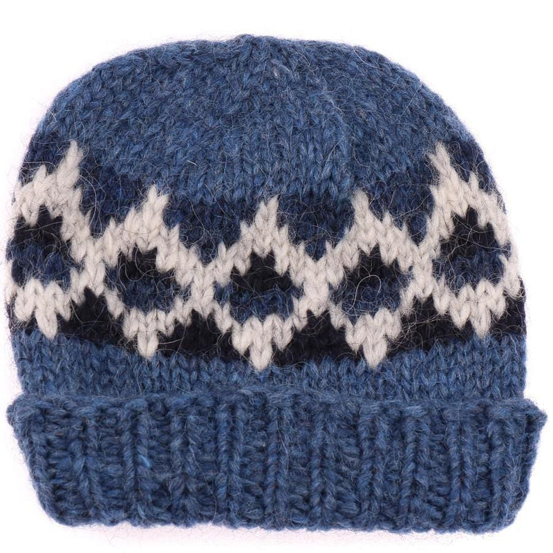 Handknit Wool Hat - Blue, Icelandic Wool Hat - icelandicstore.is