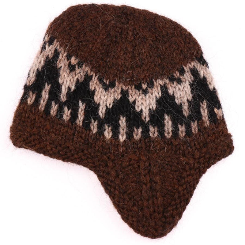 Handknit Wool Hat - Brown / Black - icelandicstore.is
