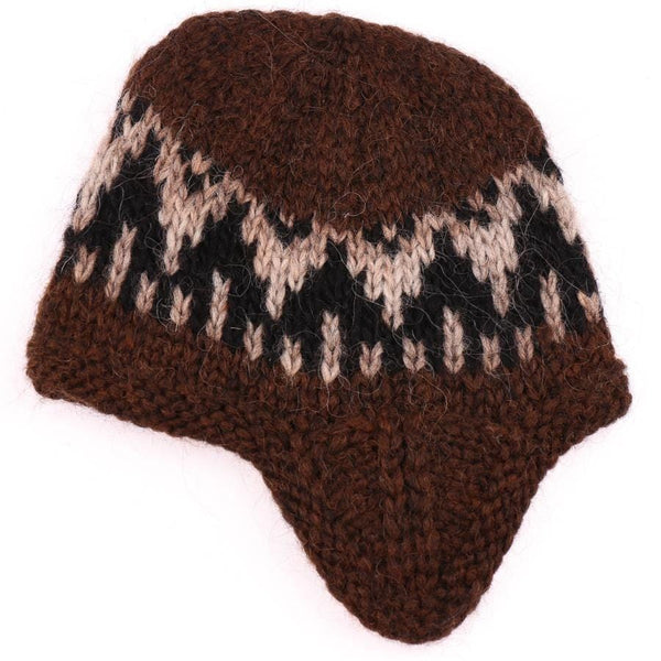 Handknit Wool Hat - Brown / Black, Icelandic Wool Hat - icelandicstore.is
