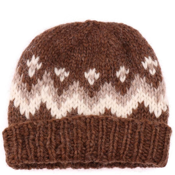 Handknit Wool Hat - Brown / White, Icelandic Wool Hat - icelandicstore.is