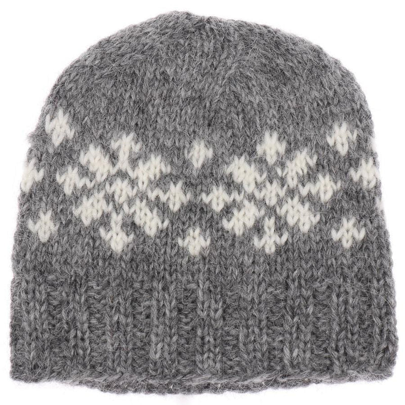 Handknit Wool Hat - Grey / White Frostroses - icelandicstore.is